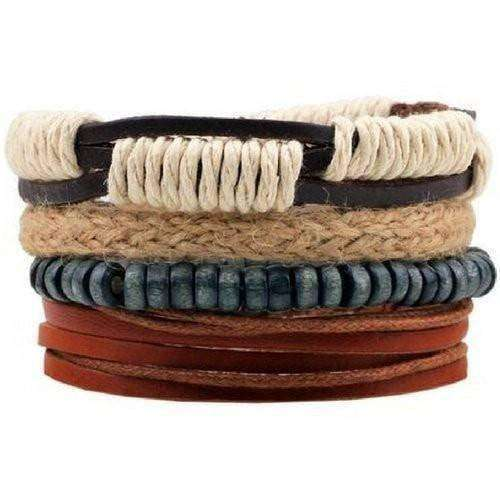 Boho Surfer Hemp and Leather Multilayer Bracelet Set