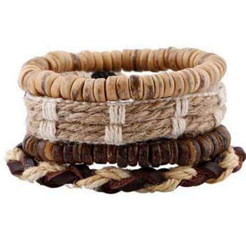 Boho Treasure Coconut Shell, Hemp And Leather Multilayer Bracelet Set