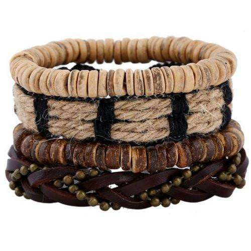 Braided Hemp, Leather And Chain Multilayer Bracelet