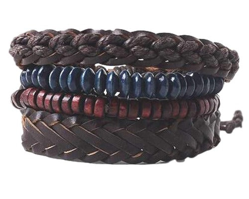 Brown Braided Leather with Red and Blue Beads Multilayer Bracelet Set