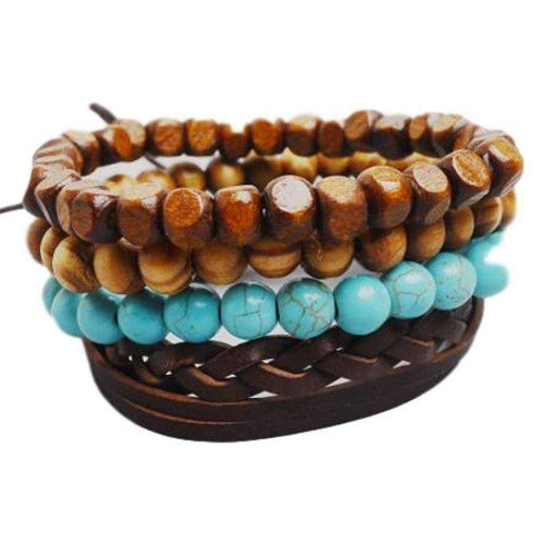 Brown Braided Leather with Turquoise and Natural Colored Wooden Beads Multilayer Bracelet