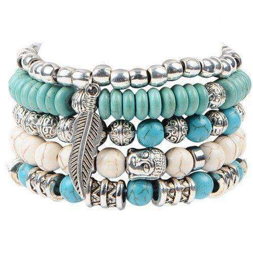 Buddha And Feather Charm Leather 5-piece Bracelet Set