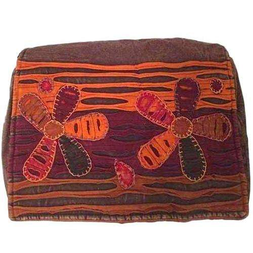 Budding Bloom Orange and Brown Embroidered Messenger Bag
