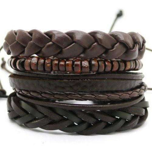 Chunky Brown Bead And Braided Leather Multilayer Bracelet Set