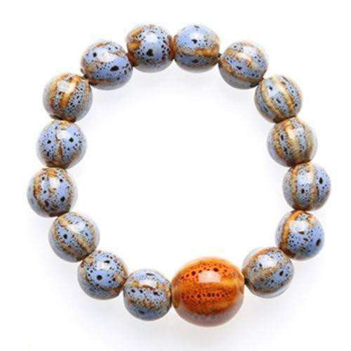"""Circle of Life"" Blue-Gray Ceramic Bead Bracelet"