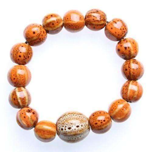 """Circle of Life"" Pumpkin Orange Ceramic Bead Bracelet"