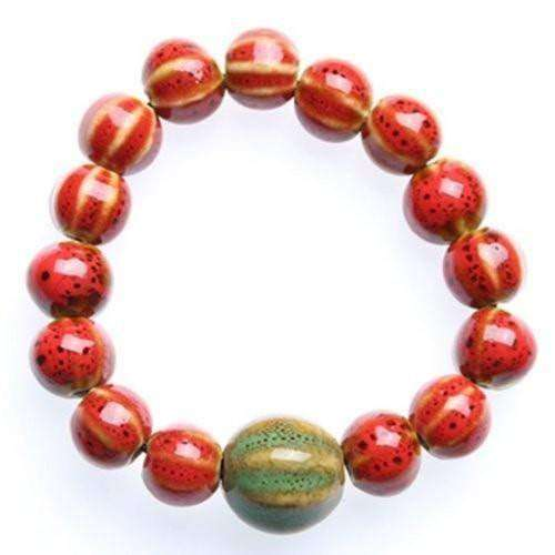 """Circle of Life"" Red Ceramic Bead Bracelet"