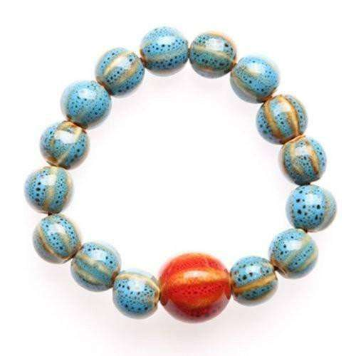 """Circle of Life"" Sky Blue Ceramic Bead Bracelet"