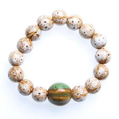 """Circle of Life"" White Ceramic Bead Bracelet"