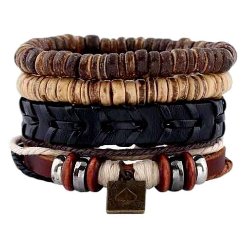 Coconut Shell Ace of Spades Multilayer Leather, Bead and Hemp Boho Hippie Bracelet Set