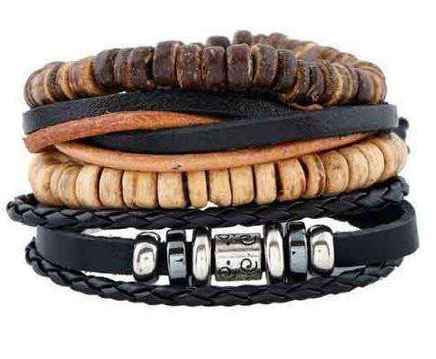 Coconut Shell and Silver Bead Leather Multilayer Bracelet Set