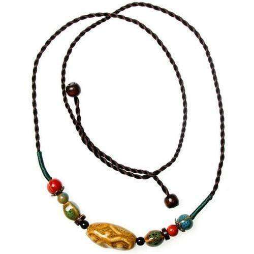 Colorful Ceramic Bead And Hemp Cord Adjustable Necklace