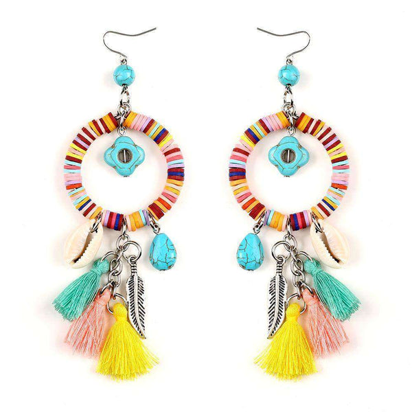 Colorful Tasseled Shells & Feather Earrings