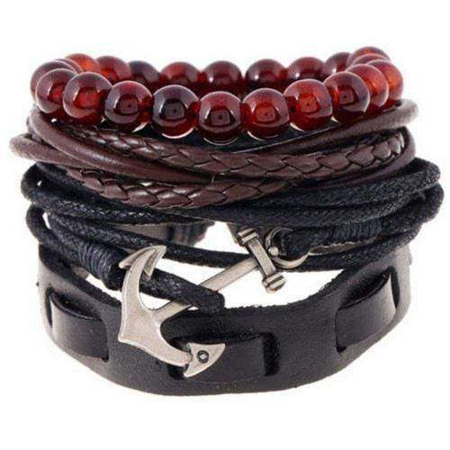 Cool Silver Anchor Charm Black Leather Multilayer Bracelet Set
