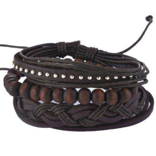 Cool Studded Black And Brown Leather Multilayer Bracelet