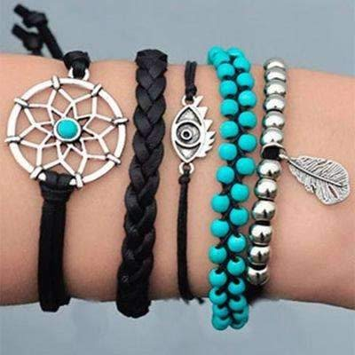 """Dream"" Turquoise and Black Beaded 5 Piece Bracelet Set"
