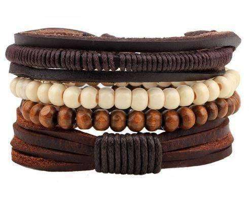 Earth Hug Brown And Cream Beaded Leather Multilayer Bracelet