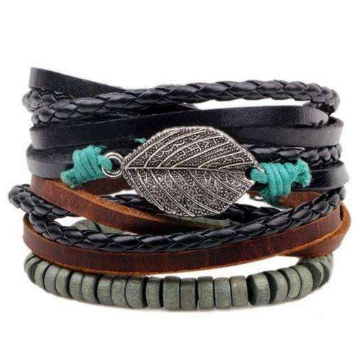 Earth Love Leaf Charm Leather Multilayer Bracelet Set