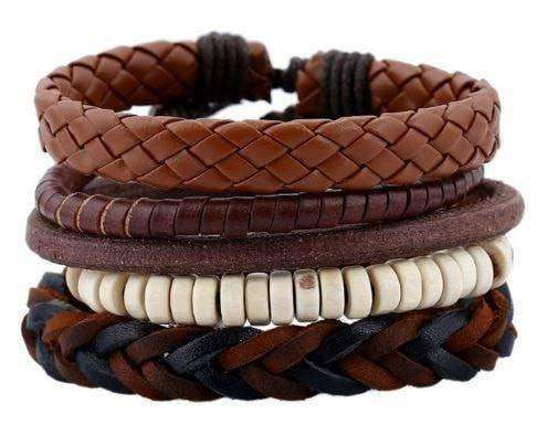 Earth Song Brown, Cream And Black 5 Piece Leather Multilayer Bracelet Set