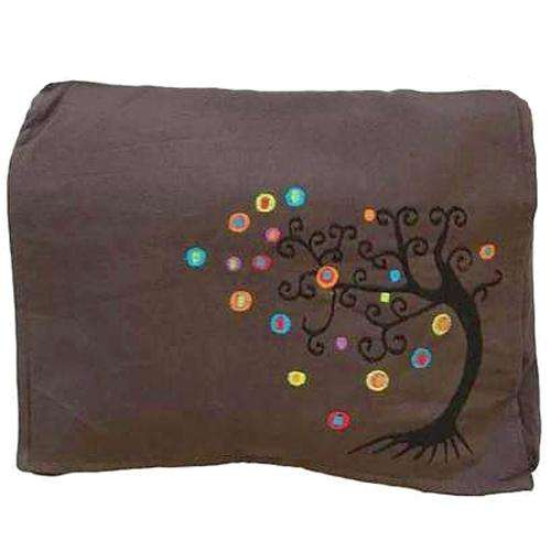 Earthy Brown Embroidered Tree Of Life Black Messenger Bag