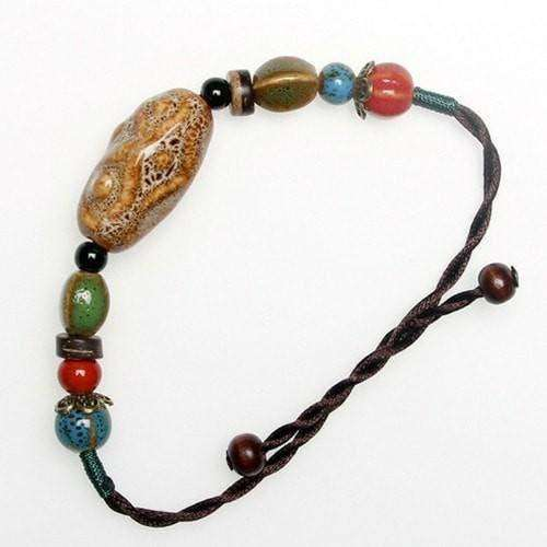 Earthy Ocher Ceramic Beads And Hemp Cord Adjustable Bracelet