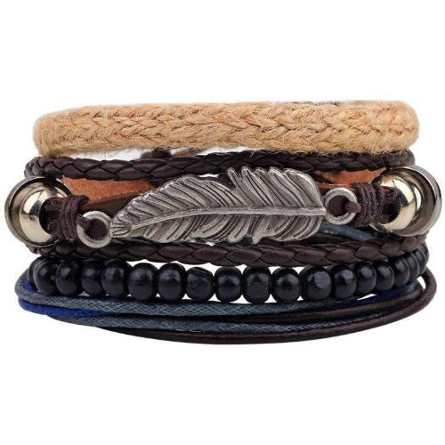 Hippie Feather Charm  Leather And Hemp Multilayer Leaf Bracelet Set