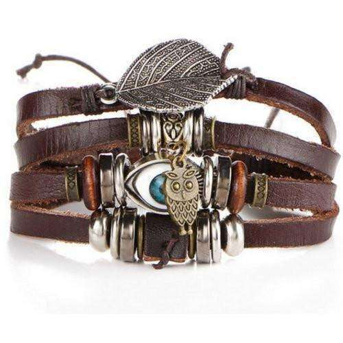 Feather Charm With Eye And Owl Leather Bracelet