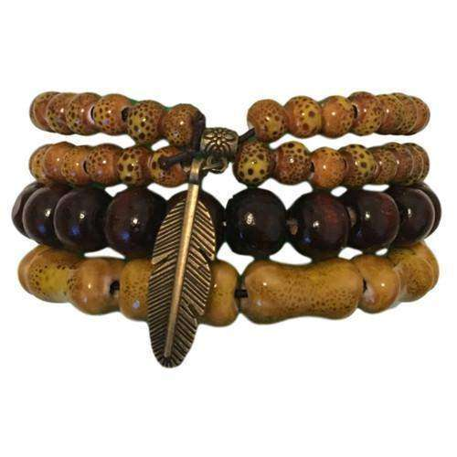 Feather Charm With Ocher Mustard Ceramic And Wooden Bead Hippie Bracelet Set
