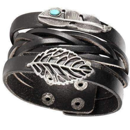 """Float"" Feather and Leaf Charm Black Leather Cuff Bracelet"