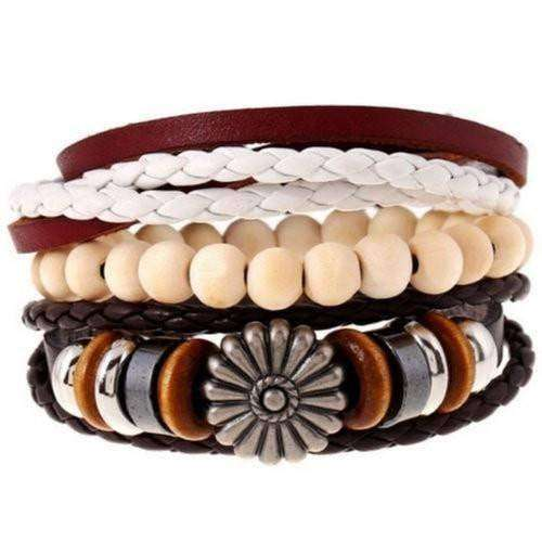 Flower Power Charm Leather Multilayer Bracelet Set