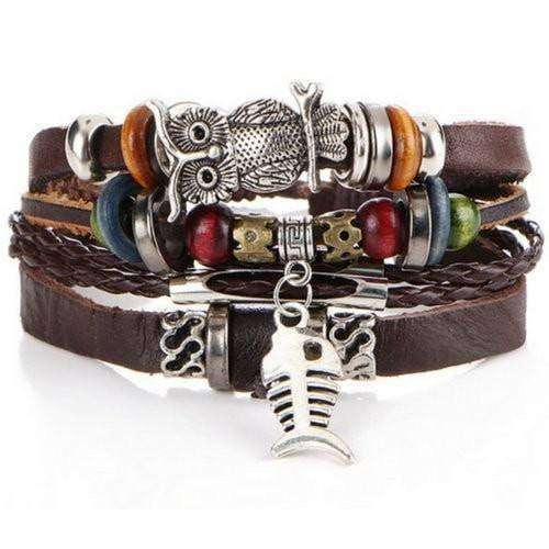 """Freedom"" Fish and Owl Charm Beaded Leather Bracelet"
