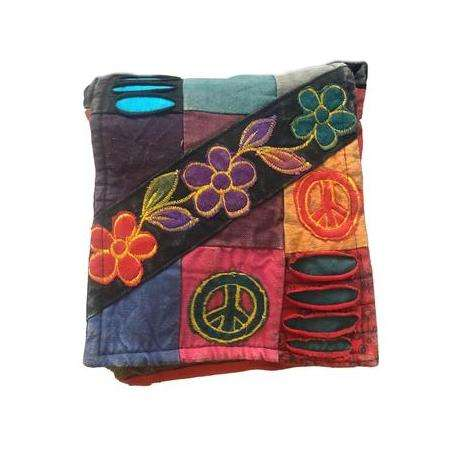 Funky Hippie Patchwork and Peace Sign Passport Bag