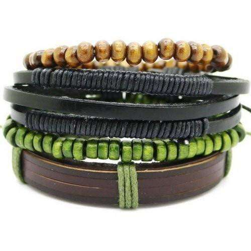 Green Beaded Leather Multilayer Bracelet Set