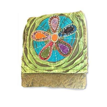 Green Colorful Circle Flower Passport Bag