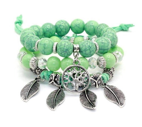Green Tree of Life Beaded 3 Piece Bracelet Set