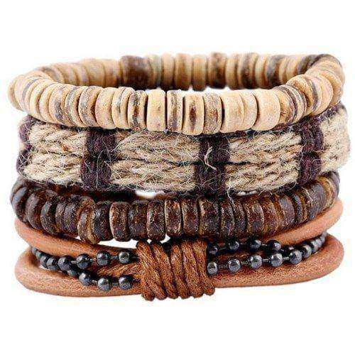 The Bohemian  Hemp, Bead and Black Chain Multilayer Bracelet