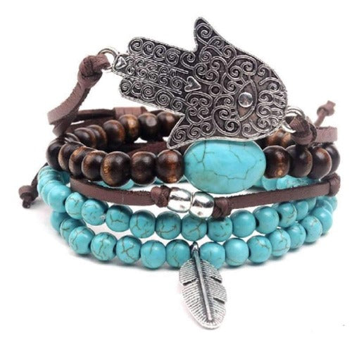 Hamsa Hand and Feather Leather, Bead and Hemp Boho Hippie Bracelet Set with Canvas Gift Bag