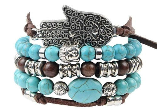 Hamsa Hand Charm With Turquoise Beads 5 Piece Leather Bracelet Set