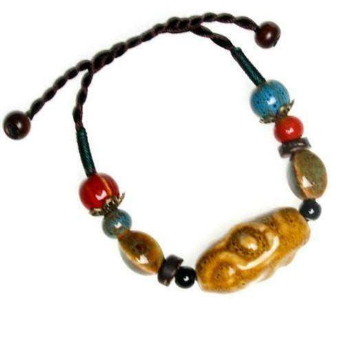 Handmade Funky Colorful Ceramic And Hemp Cord Adjustable Bracelets