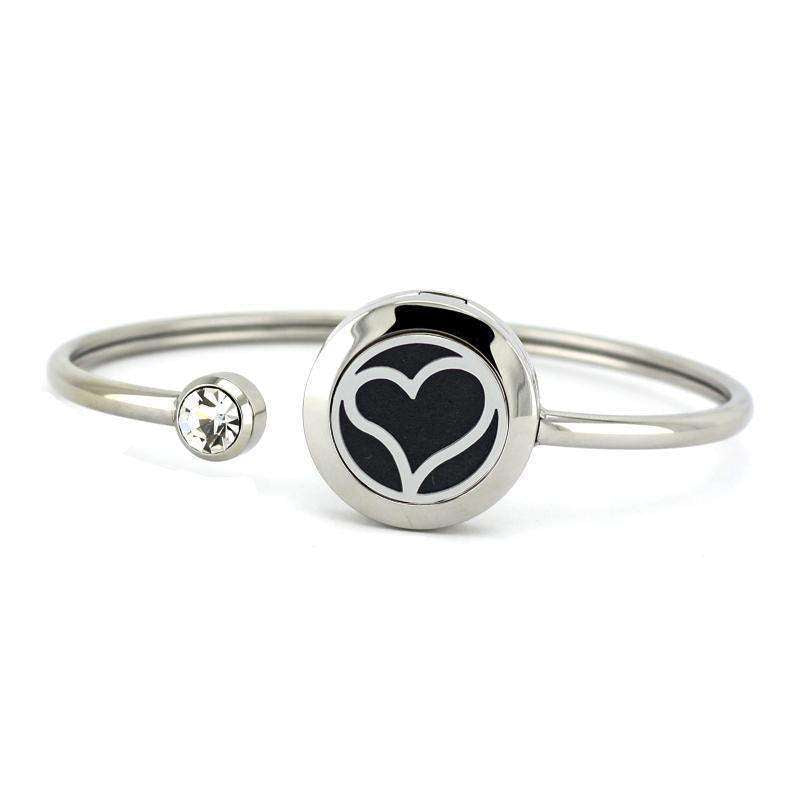 Heart Aromatherapy Essential Oil Diffuser Bangle Bracelet