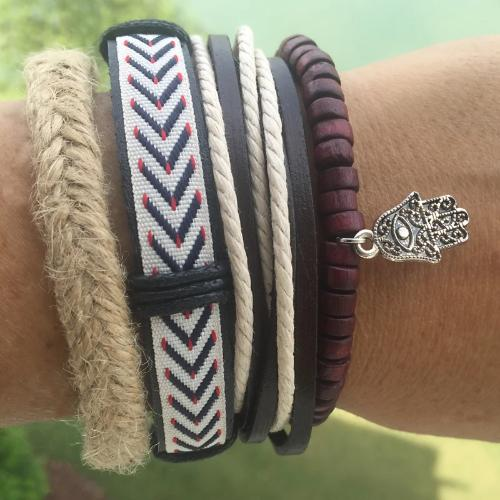 Hemp with Dark Wood Beads , Hamsa Hand Charm Leather Multilayer Bracelet
