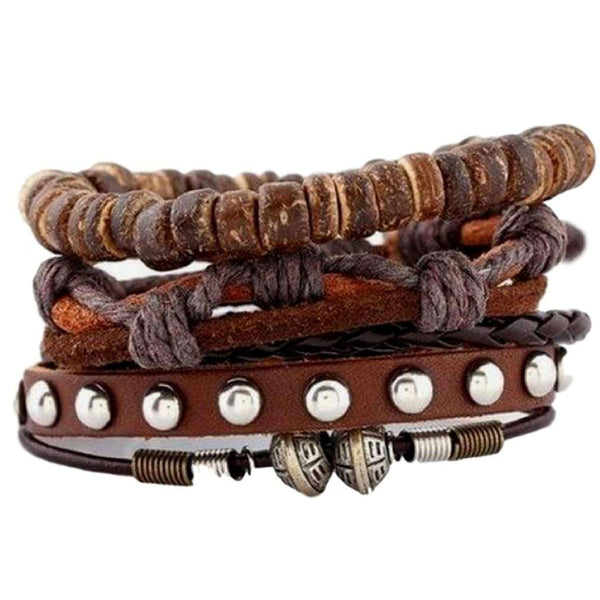 Studded Leather and Wood Bead Bracelet