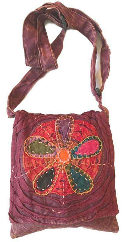 Himalayan Sunset Maroon And Orange Crossbody Passport Bag