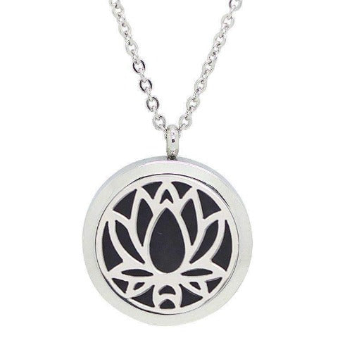 Lotus Flower Essential Oil Aromatherapy Diffuser Pendant Necklace