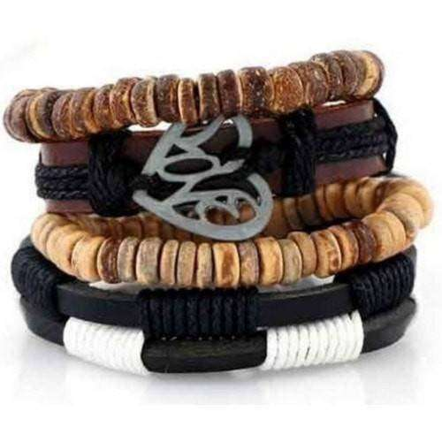 Love Inspirational Coconut Shell Beaded Leather Multilayer Bracelet Set
