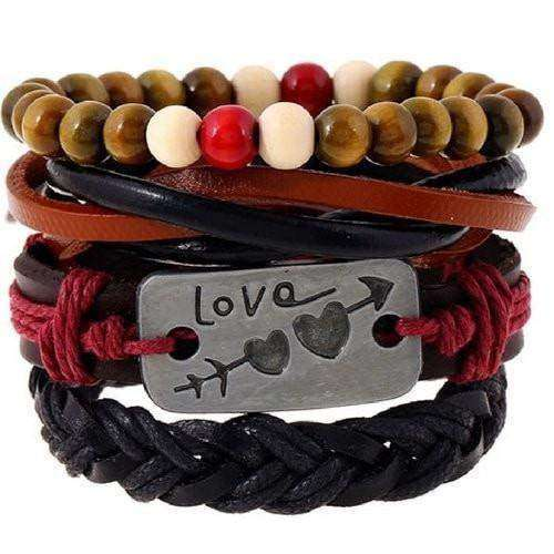 Love Inspirational Red And Black Leather Multilayer Bracelet Set