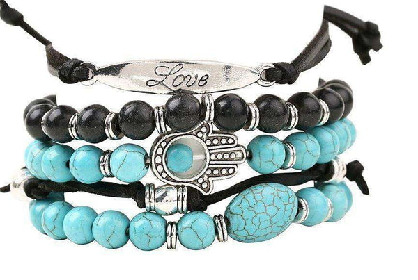 """Love"" Inspirational Turquoise and Black Beaded 5 Piece Bracelet Set"