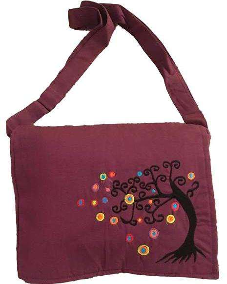 Maroon Handmade Hippie Boho Cross Body Messenger Bag with Himalayan Tree