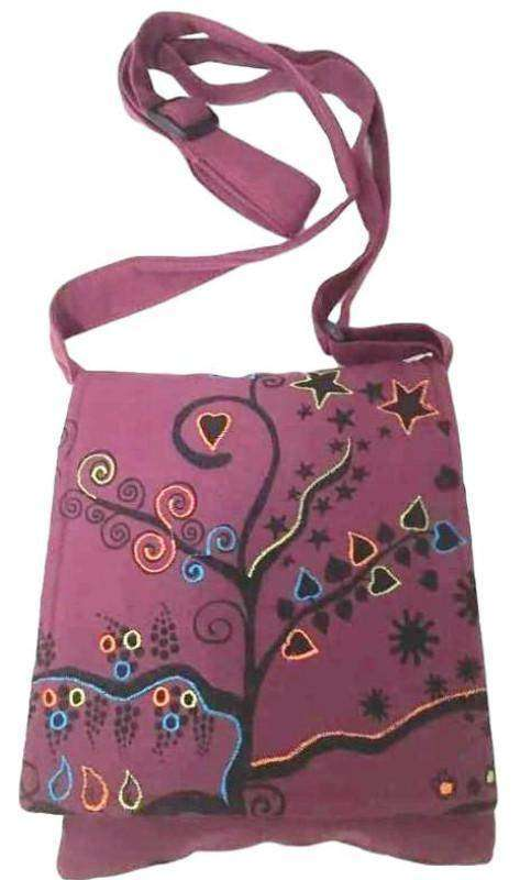Maroon Tree of Life Passport Bag