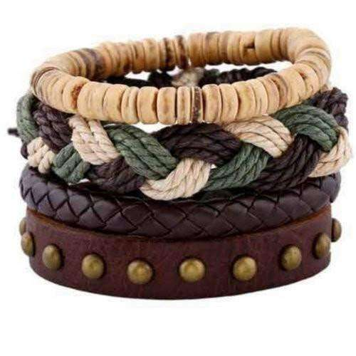 Mother Nature Green Braided Hemp And Studded Leather Multilayer Bracelet Set